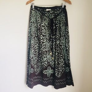 Soft Surroundings embroidered brown skirt belted